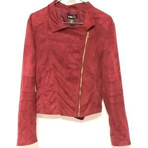 Rue 21 Asymmetrical exposed zip red sz L jacket